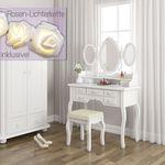 Schminktisch Queen Rose – mit 3 Spiegeln, Hocker und LED-Lichterkette für 99,90€ (statt 125€)