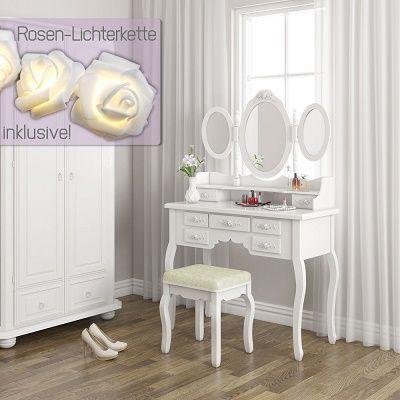 Schminktisch Queen Rose   mit 3 Spiegeln, Hocker und LED Lichterkette für 99,90€ (statt 125€)