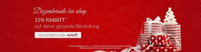 ubup Banner Dezember 15% Rabatt auf die gesamte Bestellung bei Ubup