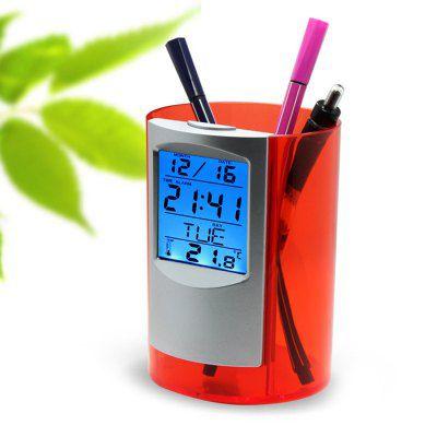 Multifunktionale Halterung für Stifte mit digitaler Uhr, Wecker und Thermometer für 5,42€