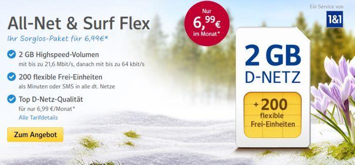 1und1 Banner1 1&1 All Net & Surf Special ab 6,99€/Monat   bis zu 300 Freieinheiten + 4 GB Internet