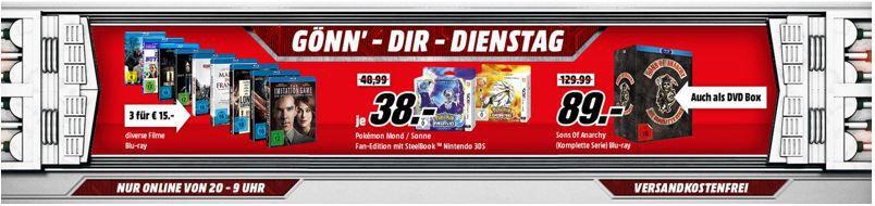 3 Blu rays für 15€ 3 Blu rays für 15€   im Media Markt Dienstag Sale