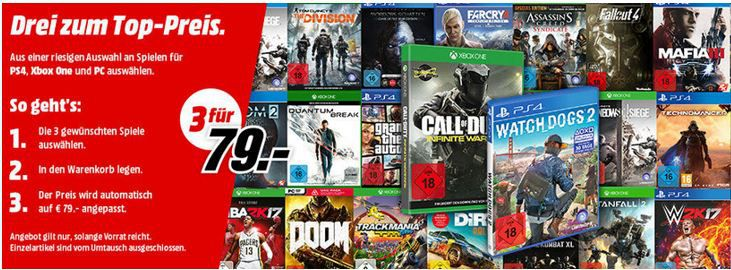 3 Games für 79€ Media Markt: 3 Games (PC, Xbox One, PS4) für nur 79€ + Konsole ab 333€