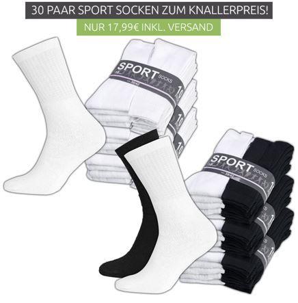 30 Paar Socken Herren Sportsocken   30er Pack für 9,99€ (statt 22,99€)