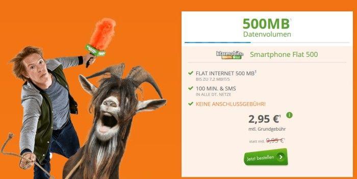 klarmobil Smart Flat im Vodafone Netz mit 500MB + 100 Minuten + 100 SMS für 2,95€ mtl.