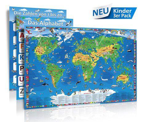3 Poster: Kinder XXL Weltkarte (1,35 Meter) + Alphabet + Zahlen bis 20 für 9,95€