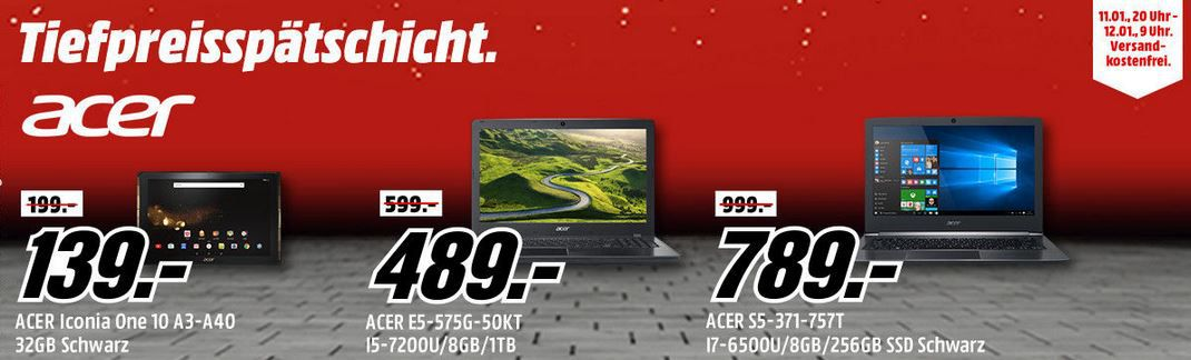 Media Markt Acer Tiefpreisspätschicht   15,6 Notebook ACER Aspire E 15 für 679€