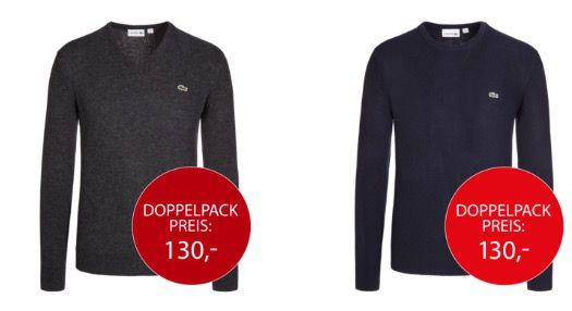 2er Pack Lacoste Lambswool Pullover mit Rundhals oder V Neck für 120€