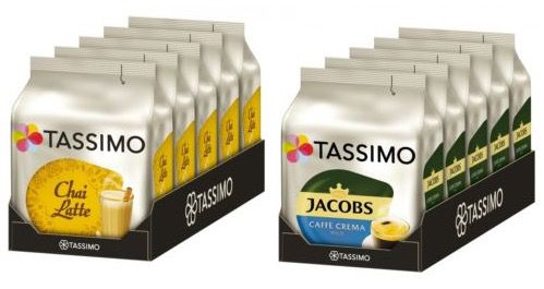 5er Pack Tassimo Chai Latte oder Caffé Crema ab 14,99€ (statt 30€)