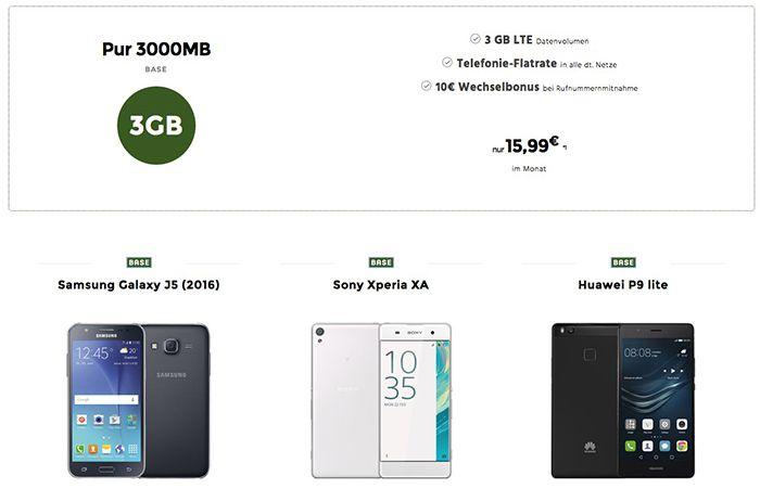 Base Allnet mit 3GB LTE für 15,99€ mtl. + Smartphone ab 1€   junge Leute mit 4GB!