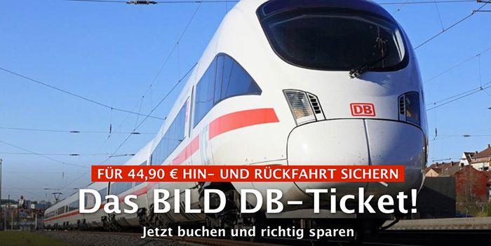 Deutsche Bahn Hin  & Rückfahrt inkl. Sitzplatzreservierung für 44,90€