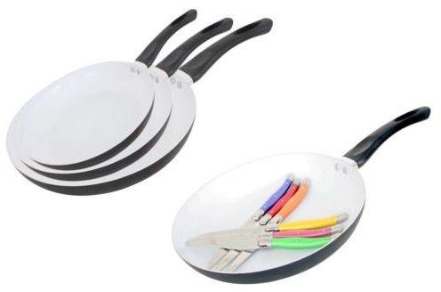 3er Set Keramik Pfannen oder 1 Pfanne + Steakmesser für je 16,99€