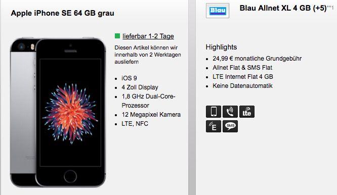 Bildschirmfoto 2017 01 20 um 08.48.37 iPhone SE 64GB oder S7 32GB + Blau.de (o2) AllNet + SMS Flat + 4GB LTE 25€ mtl.
