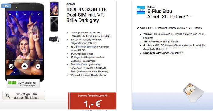 E Plus Allnet Flat + 4GB LTE + IDOL 4s Smartphone + VR Brille für 24,99€ mtl.