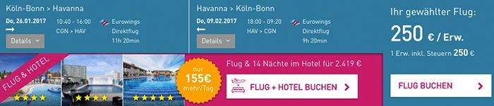 Super Last Minute Flüge von Köln nach Havanna und zurück für 250€