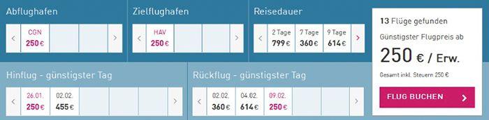 Bildschirmfoto 2017 01 25 um 12.26.34 Super Last Minute Flüge von Köln nach Havanna und zurück für 250€