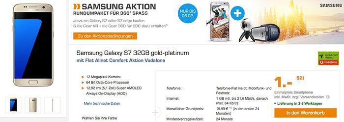 Samsung Galaxy S7 für 1€ + Vodafone Allnet Flat mit 1GB für 19,99€ mtl.