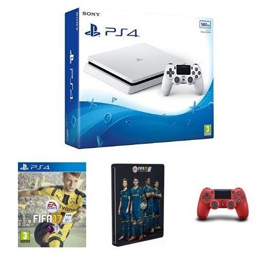 Weiße PS4 slim Bundle für je 299€ bei Amazon UK   z.B. mit Fifa 17 + 2. Controller (statt 400€)