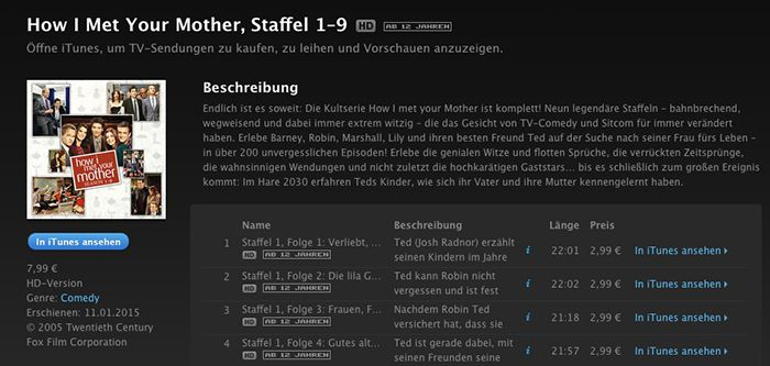 Vorbei! How I Met Your Mother Staffel 1–9 in HD für 7,99€ bei iTunes