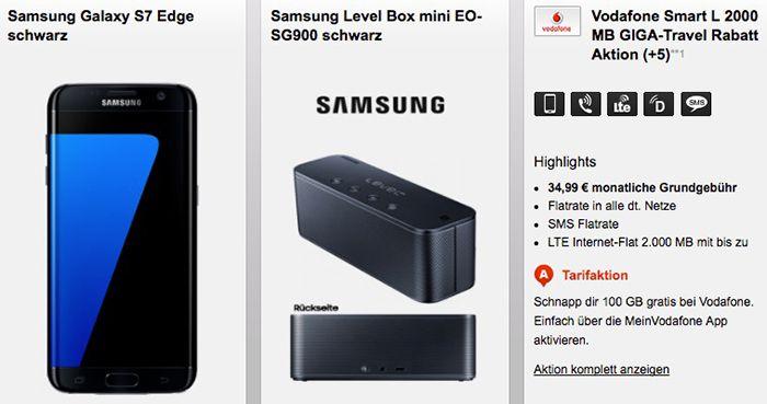 Samsung Galaxy S7 edge + Samsung Level Box + Vodafone Allnet Flat + 2GB LTE für 34,99€ mtl.