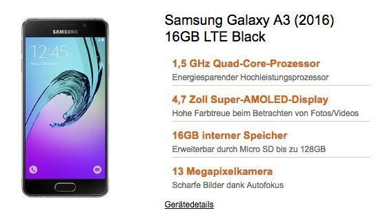 o2 Smart Surf mit 1GB LTE + Samsung Galaxy A3 (2016) für 9,99€ mtl.