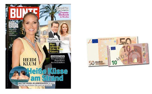 19 Ausgaben BUNTE dank 60€ Bargeldprämie für nur 4,60€