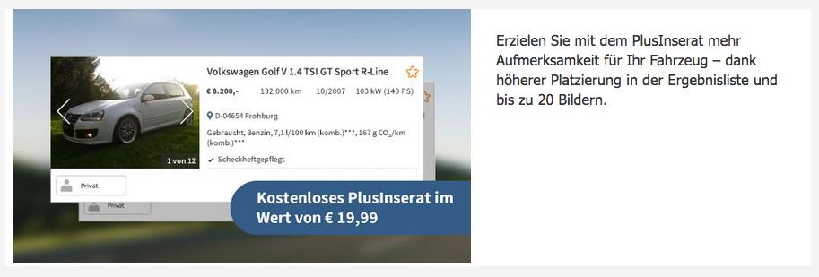 Kostenloses Plus Inserat bei Autoscout24.de
