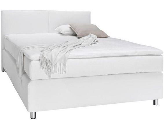 Boxspringbett   weißer Lederlook mit Bonellfederkern 140x200cm ab 333€