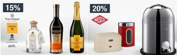 Champagner Aktion 20% Rabatt auf Wein, Schaumwein, Spirituosen & Bier   Galeria Kaufhof Mondschein Angebote