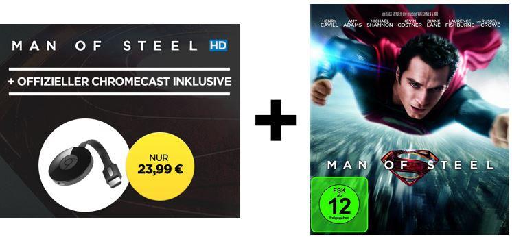 Chromecaste man of steel Google Chromecast 2 + HD Stream Man Of Steel für 23,99€