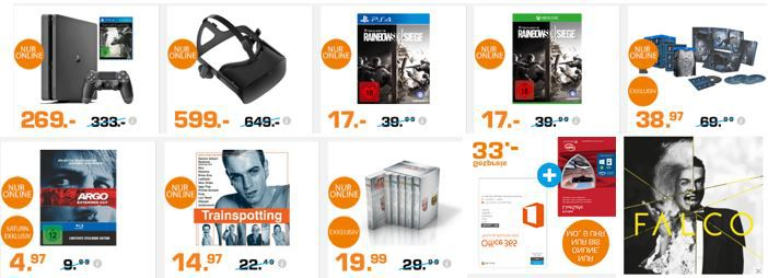 FALCO Entertainment Weekend Deals bei Saturn: z.B.  PlayStation 4 Slim 1TB + The Last Guardian für 269€
