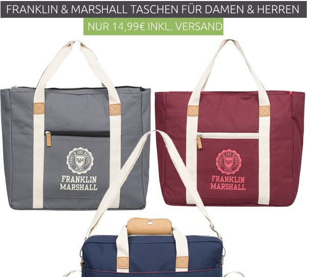 FRANKLIN AND MARSHALL FRANKLIN & MARSHALL Messenger Bag oder Shopper statt 30€ für je 14,99€