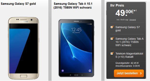 Galaxy Angebote im Bundle Galaxy S7 + Galaxy Tab A 10.1 Wifi 9€ + Gear VR & Gear 360 für 99€ + Telekom LTE Tarif ab 1GB ab 42,45€ mtl.