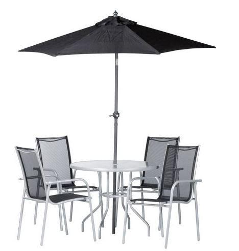 Schnell! Gartenset: 4 Stühle + Tisch + Sonnenschirm für 69,90€