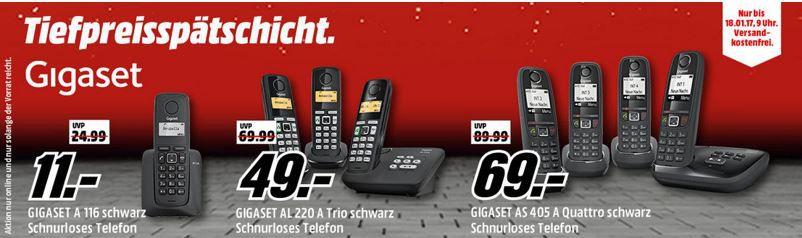 Gigaset Aktion Media Markt GIGASET Tiefpreisspätschicht   GIGASET AL 220 A Trio mit AB und 3 Mobilteilen für nur 49€