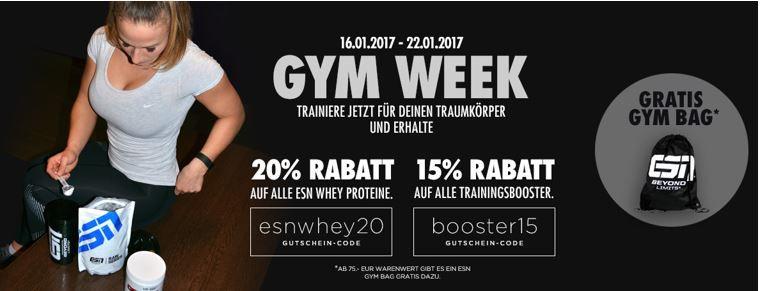 Gym Gutschein 20% Rabatt auf alles von ESN bei Fitmart   auch auf Staffelpreise   ab 75€ Warenwert gratis ESN Gym Bag
