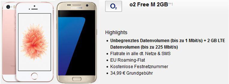 Samsung Galaxy S7 oder iPhone SE 64 GB mit O2 Allnet SMS Flat + 2GB Daten + Festnetznummer für 34,99€ mtl.