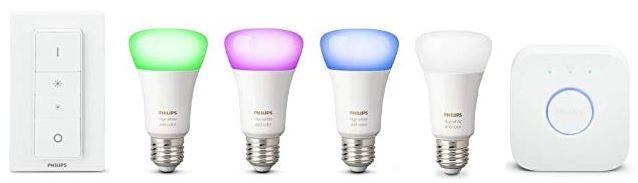 Philips Hue   4 x 10W E27 LED Leuchten im Starter Kit inkl. hue Bridge +  Dimmer für 130,72€