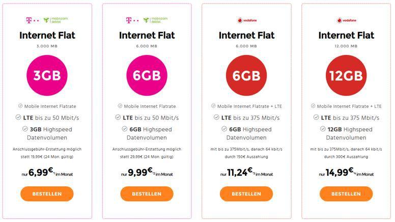 Internet Flat Telekom Netz: LTE Datenflat mit 3GB für 6,99€ mtl. oder 6GB für 9,99€ mtl.   Vodafone 12GB für 14,95€
