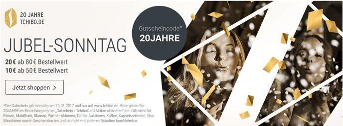 Jubel Sonntag Tchibo   Bis zu 20€ Rabatt auf fast alles bis Mitternacht