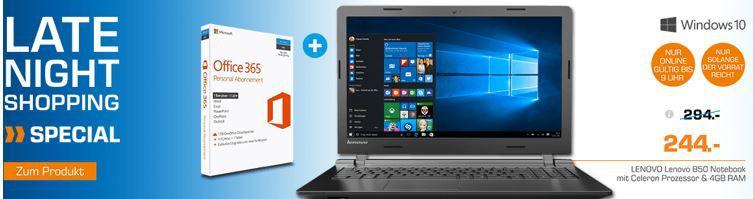 Lenovo B50 10   15,6 Notebook + Office 365 für 244€ (statt 336€)