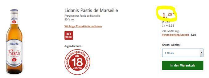 Ausverkauft: Lidanis Pastis de Marseille (0,5l) ab nur 1,78€
