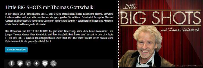 """Little Big Shots Freikarten für """"Little Big Shots"""" mit Thomas Gottschalk an verschiedenen Terminen im Februar"""