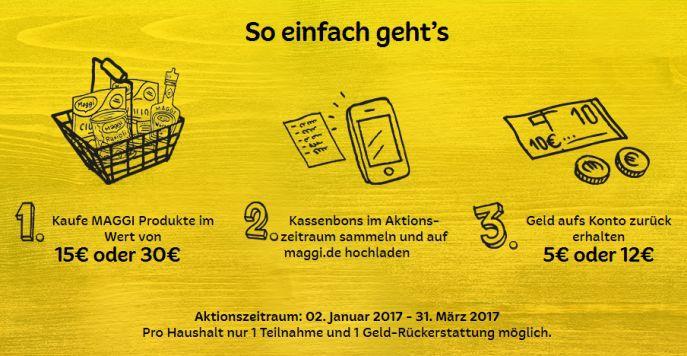 Bis zu 12€ Cashback auf Maggi Produkte dank Geld zurück Garantie