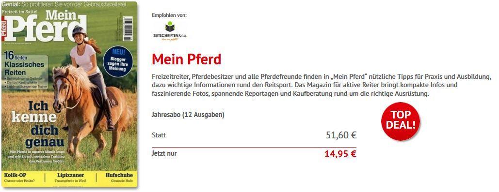 Mein Pferd Mein Pferd Jahresabo statt 51,60 für nur 14,95€ dank Sofortrabatt