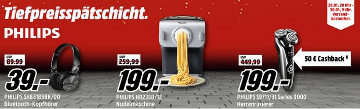 Media Markt Philips Tiefpreisspätschicht   u.a. PHILIPS Nudelmaschinen Set für 199€