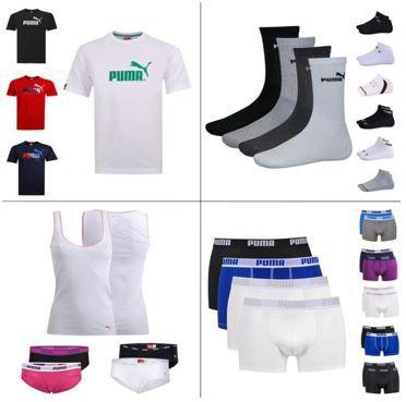 Puma: 1er T Shirt, 2er Boxer, 2er Hipster, 3er Tank Top, 9er/12er Socken für je 11,95€
