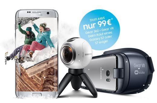 Samsung Gear 360 Samsung S7 + Vodafone Junge Leute mit Allnet + SMS Flat + 6 GB LTE nur 30,59€ mtl. + Gear 360 Kamera + Gear VR für 99€