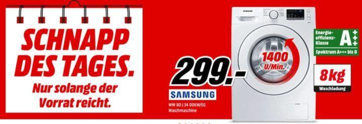 Samsung WW80J34D0KW/EG Waschmaschine 8kg A+++ für 299€ (statt 425€)   Schnapp des Tages