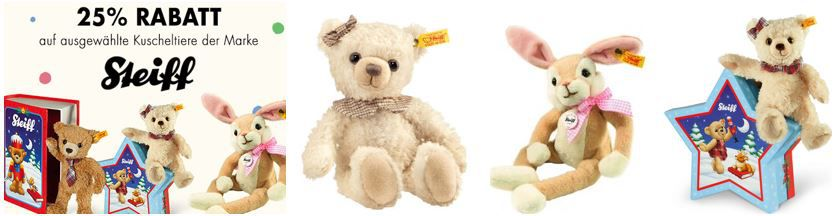 Steiff Kuscheltiere Sale bis 50% Rabatt + 20% extra Rabatt! Teddybär Carlo in Märchenbuchbox ab 19,99€ (statt 32€)